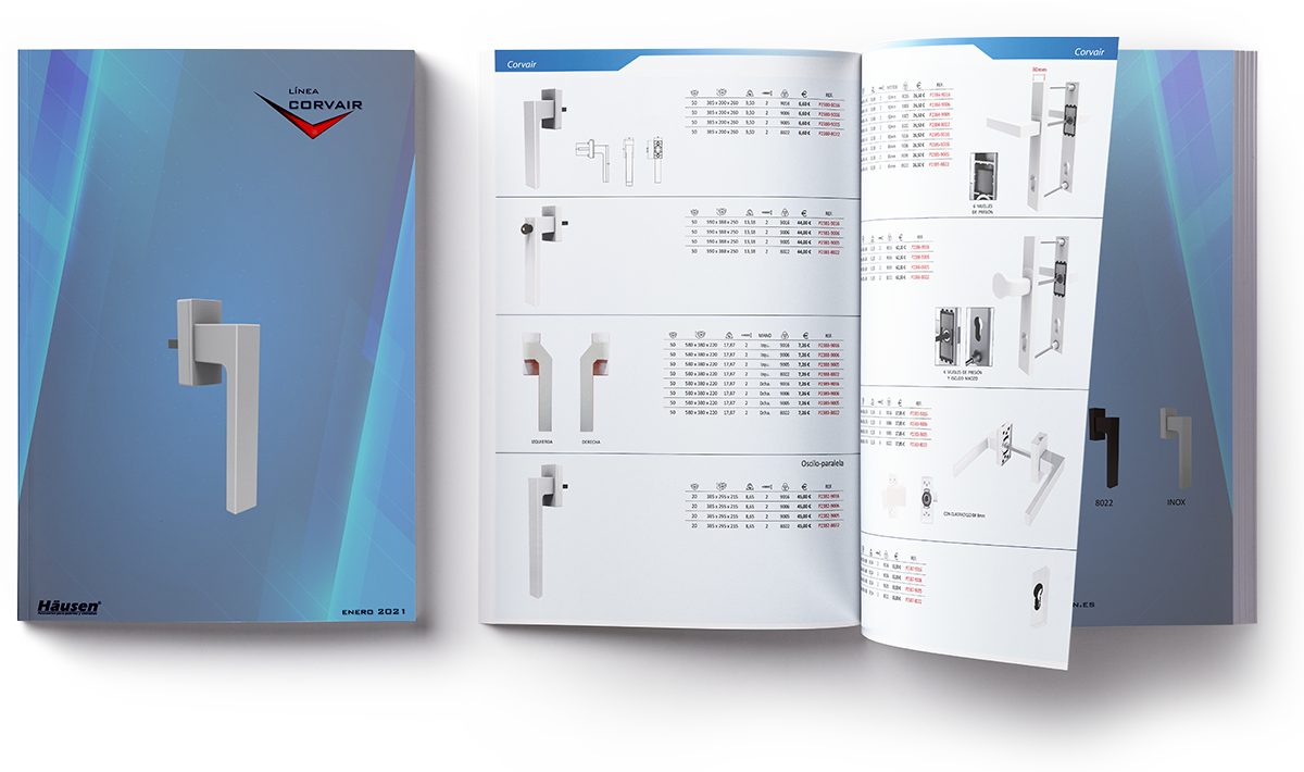 Catálogo manilla CORVAIR puertas y ventanas de Aluminio y PVC