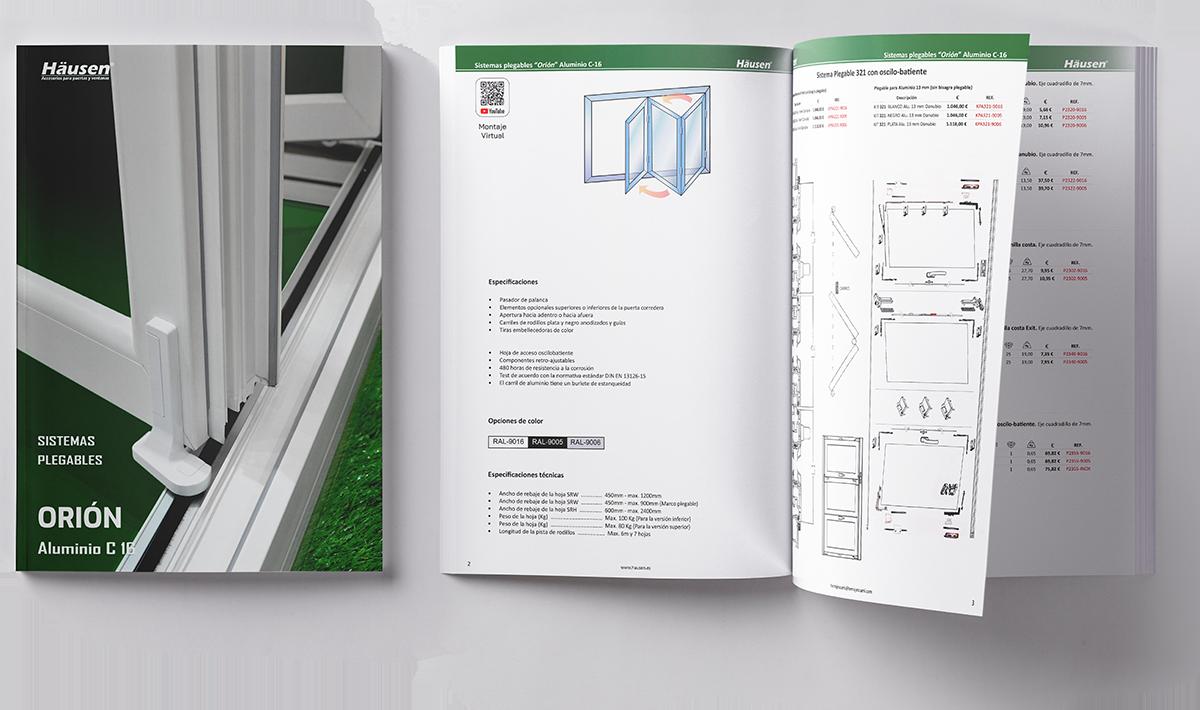 Catalogo plegable C-16 para ventanas y puertas de Aluminio y PVC